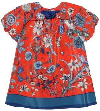 Gucci Kids Floral silk-crepe dress