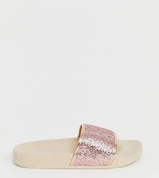Simply Be Extra Wide Fit Simply Be extra wide fit sparkly slider in pink