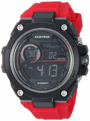 Armitron Sport Men's 40/8450RED Digital Chronograph Red Silicone Strap Watch