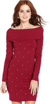 Planet Gold Juniors Dress, Long Sleeve Rhinestone Sweater