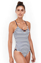 Lands' End Women's Strappy One Piece Swimsuit-White Tropical Bloom