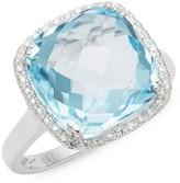 Effy 14K White Gold, Diamond & Blue Topaz Solitaire Ring
