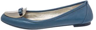 Dolce & Gabbana Blue Leather Gold Plaque Bow Detail Ballet Flats Size 39