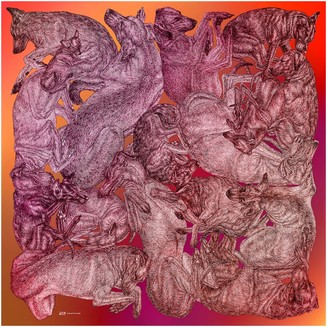 Arlette Ess 'Sleeping Dogs' Large Silk Cotton Scarf In Red Hues