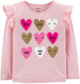 CARTERS Carter's Girls Round Neck Long Sleeve Graphic T-Shirt-Toddler