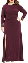 Calvin Klein Plus Round Neck Beaded Cuff Long Sleeve Ruched Gown