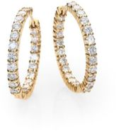 Roberto Coin Diamond & 18K Gold Inside-Outside Hoop Earrings/1
