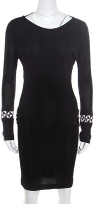 Emilio Pucci Black Knit Crystal Embellished Backless Sheath Dress S