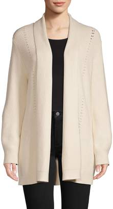 Halston H Open-Front Ribbed Cardigan