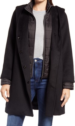 Gallery Hooded Wool Blend Coat with Quilted Bib