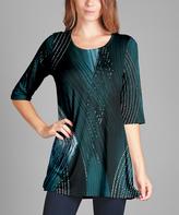 Lily Black & Teal Geometric Three-Quarter Sleeve Tunic - Plus Too