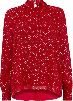 Wallis Red Metallic Star Print Blouse