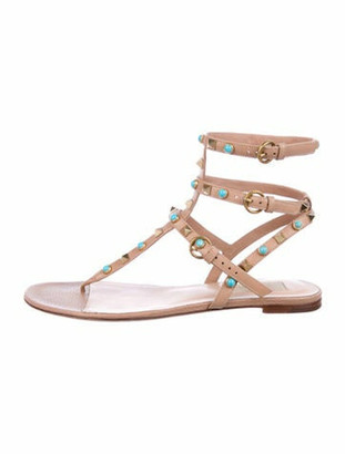 Valentino Rockstud Accents Leather Gladiator Sandals Gold