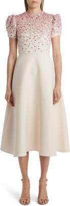 Valentino Embroidered A-Line Midi Dress