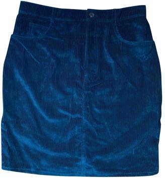 soeur Green Velvet Skirt for Women