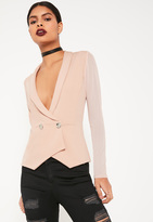 Missguided Pink Double Button Mesh Blazer