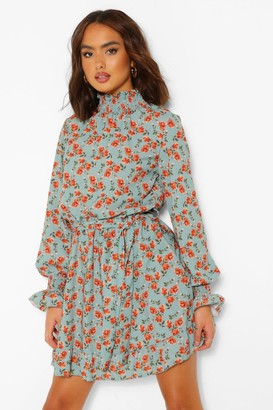 boohoo Floral High Neck Tie Belt Smock Dress