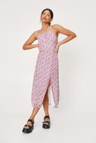 Thumbnail for your product : Nasty Gal Womens Floral Midi Slit Halter Dress - White - 14