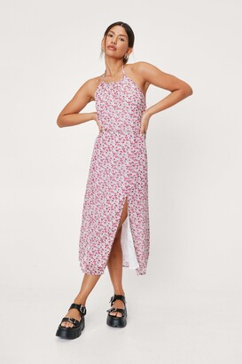 Nasty Gal Womens Give It a Grow Floral Midi Dress - White