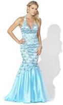 Blush Lingerie X007 Embellished Deep V-neck Mermaid Gown