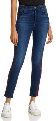 7 For All Mankind Ankle Skinny Jeans in Red Snake Stripe