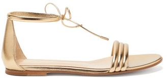 Gianvito Rossi Ankle-tie Metallic Leather Sandals - Womens - Gold