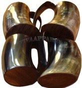 La vivia Drinking Glass Beer Wine Mug Black Original Buffalo Horn Tankard 5 Inch 4 Pc