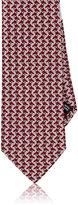 Salvatore Ferragamo Men's Tessellated-Bird-Print Silk Necktie-BURGUNDY