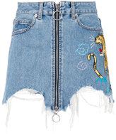 Marcelo Burlon County of Milan denim ripped zip front tiger patch skirt - women - Cotton - 27