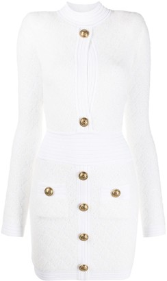 Balmain Diamond Knitted Dress With Button Detail