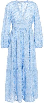 Maje Wrap-effect Embellished Fil Coupe Chiffon Midi Dress
