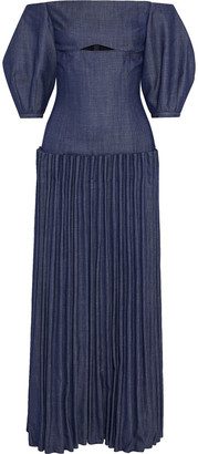 Gabriela Hearst Gala Off-the-shoulder Pleated Wool, Silk And Linen-blend Twill Maxi Dress