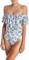 Athena Garden Party Off-Shoulder One-Piece Swimsuit, Plus Size