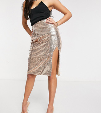 Collective The Label Petite Exclusive sequin midi skirt with super thigh split in rose gold