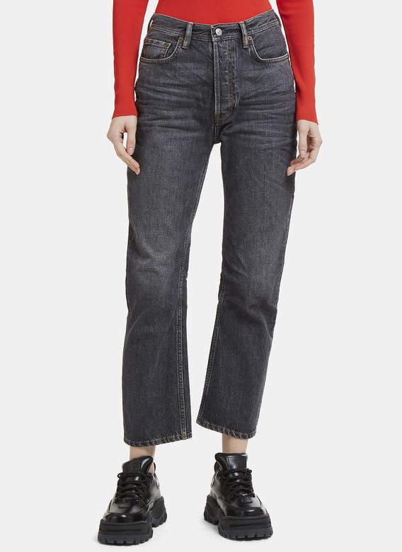 Acne Studios Log Used Straight Leg Jeans in Grey