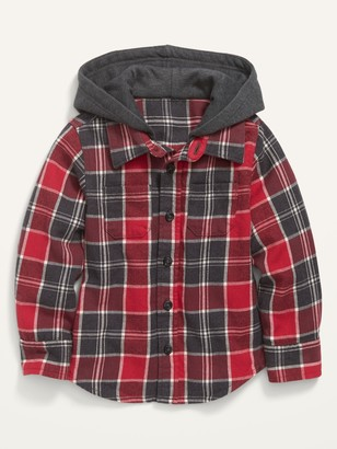 Old Navy Hooded Plaid Flannel Shirt for Toddler Boys