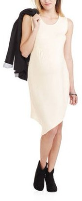 The Miss Group Maternity Sleeveless Crew Neck Fitted Asymmetrical Dress