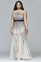 Faviana 9382 Stretch tulle plus size evening dress with liquid style beading