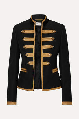 Saint Laurent Metallic Canvas-paneled Brushed Cotton-twill Jacket - Black