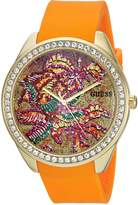 GUESS GUESS? Women's Quartz Stainless Steel and Silicone Casual Watch, Color:Orange (Model: U0960L2)