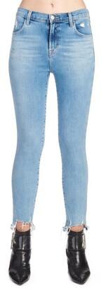 J Brand Distressed-Hem Skinny Jeans