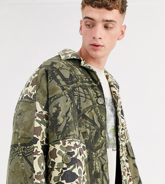 Reclaimed Vintage multi cut and sew camo jacket-Green