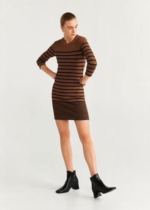 MANGO Ribbed jersey dress brown - 2 - Women