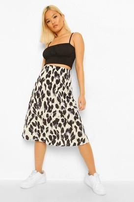 boohoo Petite Leopard Print Bias Cut Midi Skirt