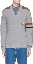 Lanvin Hexagon appliqué wool-alpaca V-neck sweater