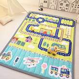 Ustide Baby Play Mat Cotton Floor Gym - Non-Toxic Non-Slip Reversible Washable, Large (Airport)