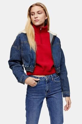 Topshop Womens Borg Zip Through Crop Denim Jacket - Mid Blue