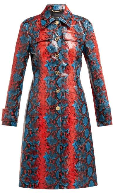 Versace Python Effect Leather Coat - Womens - Blue Multi