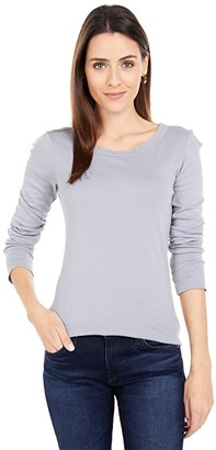 Michael Stars Supima(r) Long Sleeve Raw Edge Band Crew (Oak) Women's Clothing