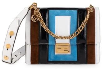 Fendi Small Kan U Embossed Leather Shoulder Bag